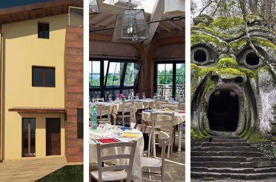 Cantiere di un edificio in legno lamellare di abete, pranzo in agriturismo e Sacro Bosco di Bomarzo